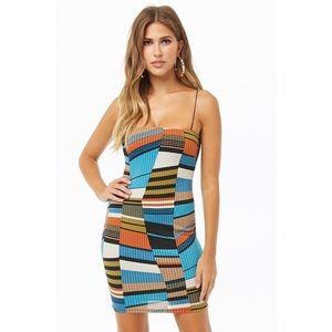 NWT - F21 Ribbed Multicolor Geo Print Mini Dress!